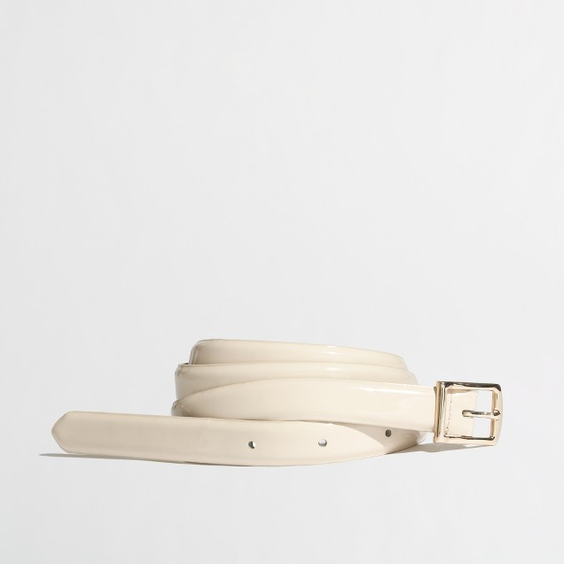 Factory skinny patent square-buckle belt