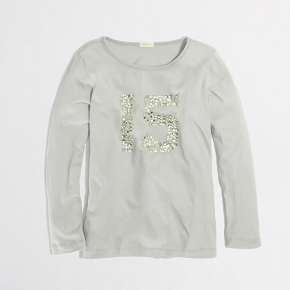 Factory girls' long-sleeve jeweled 15 keepsake tee