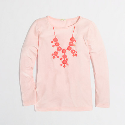 Factory girls' long-sleeve droplet necklace keepsake tee