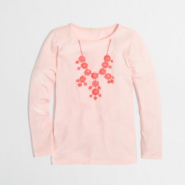 Factory girls' long-sleeve droplet necklace keepsake tee
