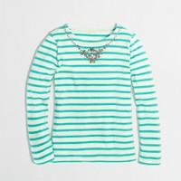 Factory girls' long-sleeve stripe necklace keepsake tee