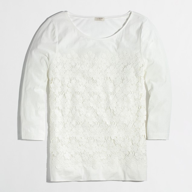 Factory placed lace tee