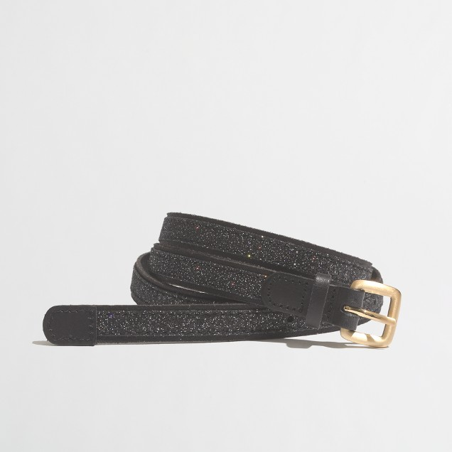 Factory leather glitter-stripe belt