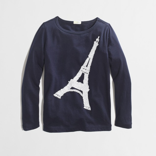 Factory girls' long-sleeve sequin Eiffel Tower keepsake tee