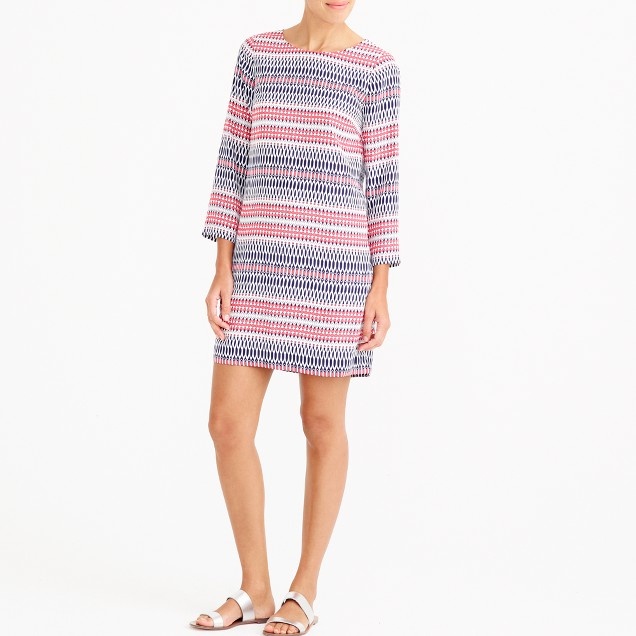 Petite printed three-quarter sleeve gallery dress