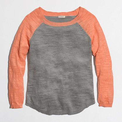 Factory airspun baseball sweater in colorblock