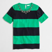 Factory short-sleeve stripe necklace sweater