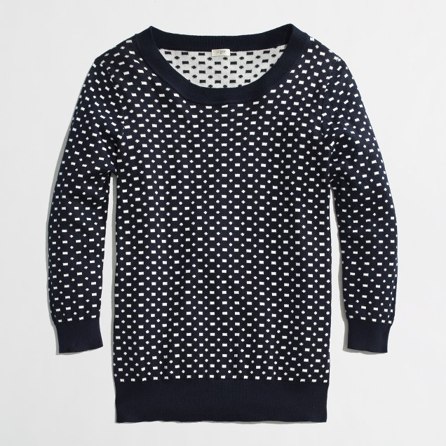 Factory double-knit Charley sweater in dash dot