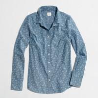 Factory floral chambray shirt