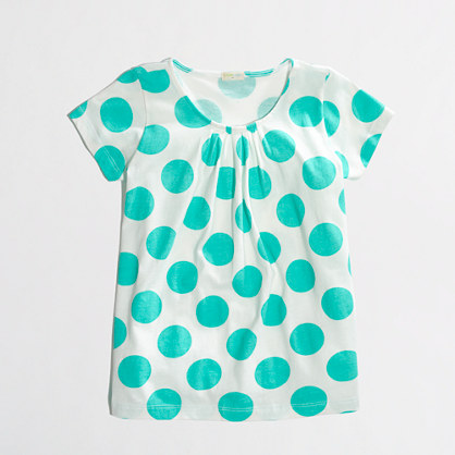 Factory girls' pleated tee in dot