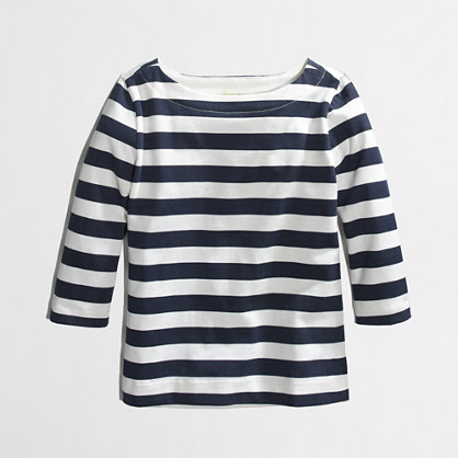 Factory girls' long-sleeve stripe boatneck tee