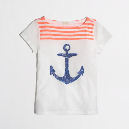 Factory girls' stripe sequin anchor keepsake tee