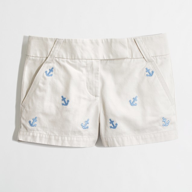 "Factory 3"" embroidered chino short"
