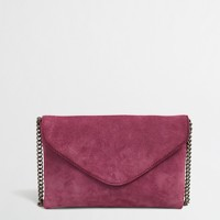 Factory chainlink suede envelope clutch