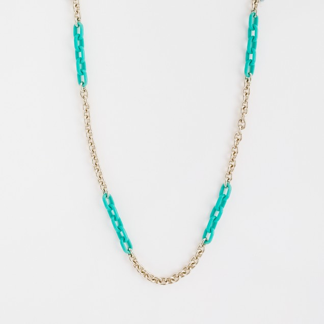Factory resin and gold link necklace