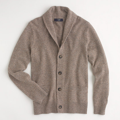 Factory marled lambswool shawl-collar cardigan