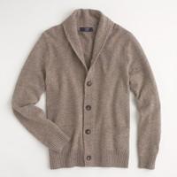 Factory marled lambswool shawl-collar cardigan