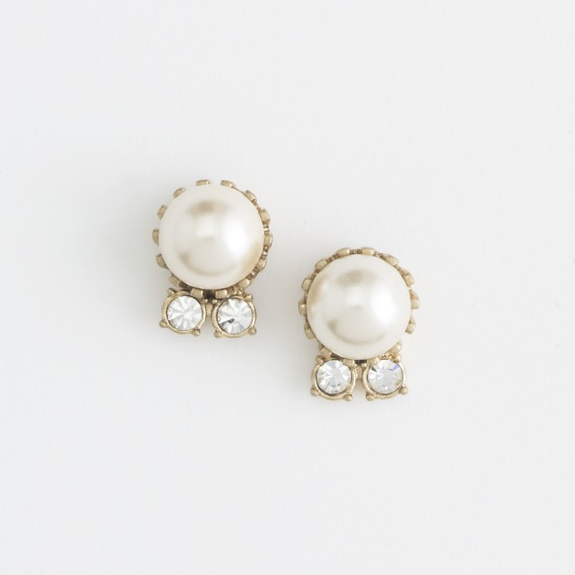 Factory vintage gold-plated pearl earrings
