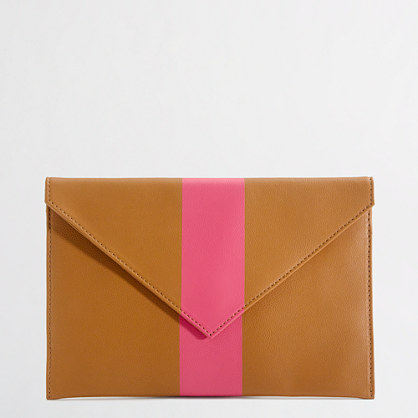 Factory stripe leather envelope clutch