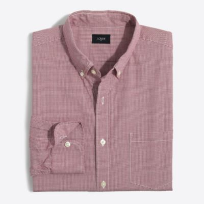 Washed shirt in microgingham factorymen casual shirts c