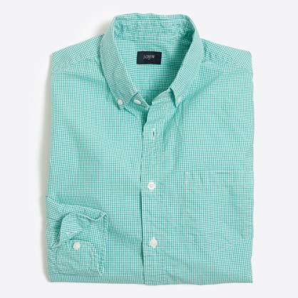 Washed shirt in microgingham