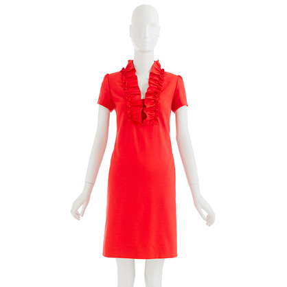 Factory wool ruffle-collar dress