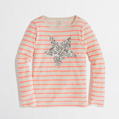 Factory girls' long-sleeve stripe sequin-star keepsake tee