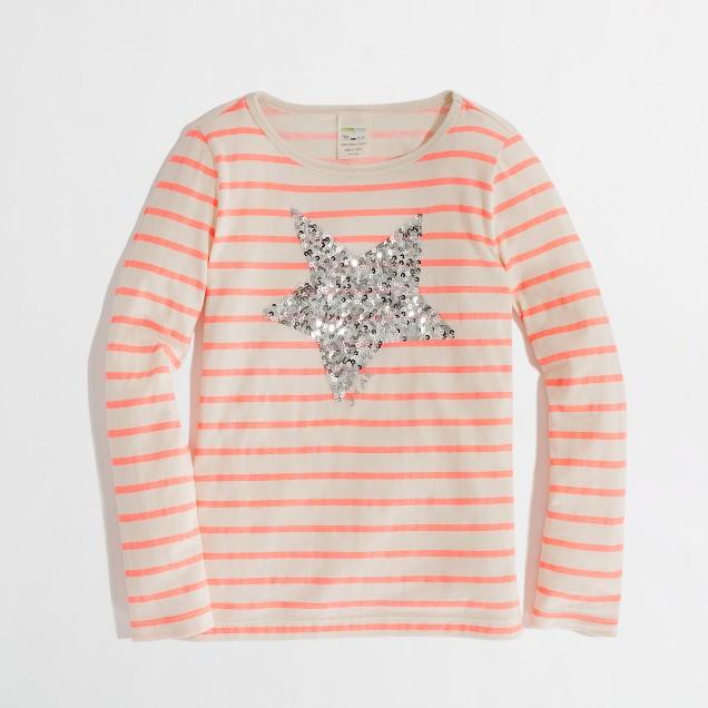 Factory girls' long-sleeve stripe sequin-star keepsake tee