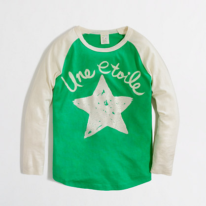 Factory girls' long-sleeve French star keepsake tee
