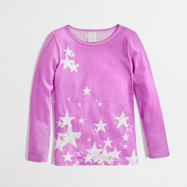 Factory girls' long-sleeve falling stars keepsake tee