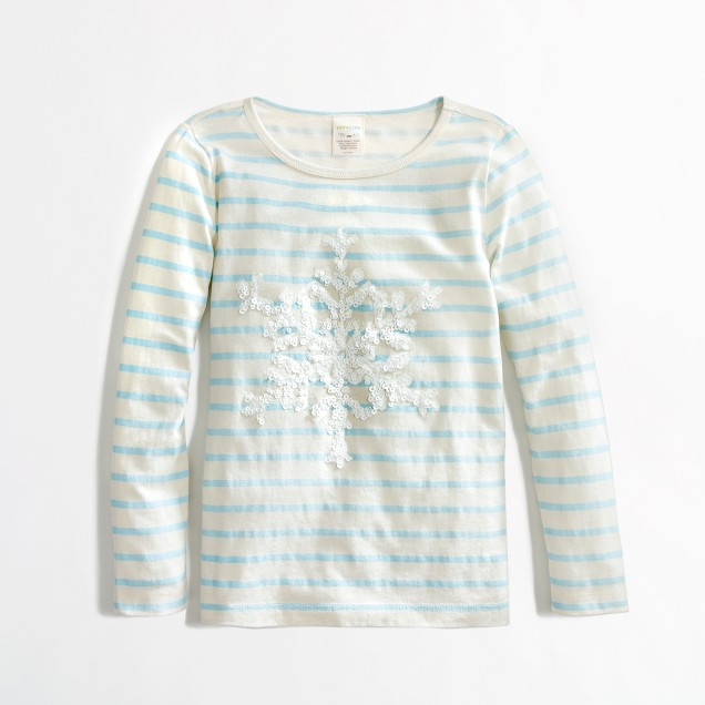 Factory girls' long-sleeve stripe snowflake keepsake tee
