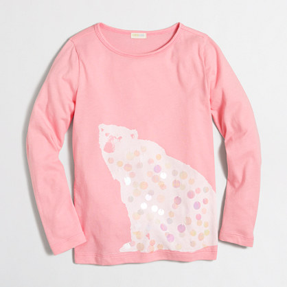 Girls' long-sleeve polar bear keepsake T-shirt