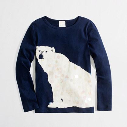 Girls' long-sleeve polar bear keepsake T-shirt