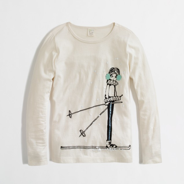 Factory girls' long-sleeve sassy skier keepsake tee