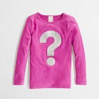 Factory girls' long-sleeve glitter question mark keepsake tee