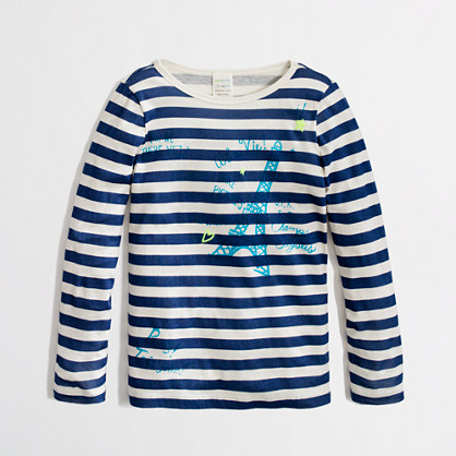Factory girls' long-sleeve stripe Eiffel Tower keepsake tee