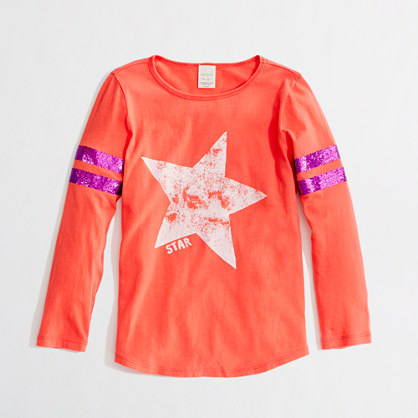 Factory girls' three-quarter sleeve baseball keepsake tee