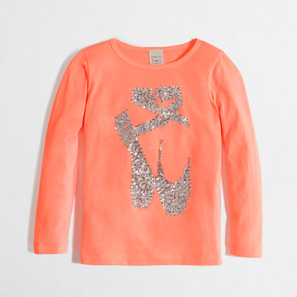 Factory girls' long-sleeve sequin slippers keepsake tee