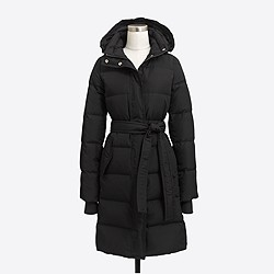 Petite long belted puffer jacket