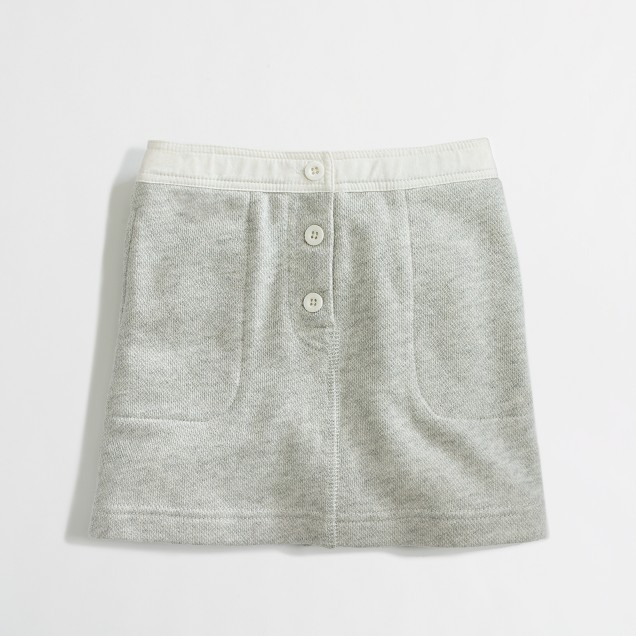 Factory girls' terry button skirt