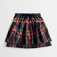 Factory girls' two-tier ruffle skirt in plaid