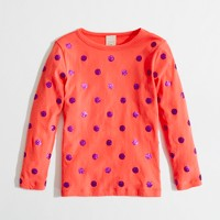 Factory girls' long-sleeve glitter-dot tee