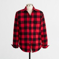 Sherpa-lined flannel jacket