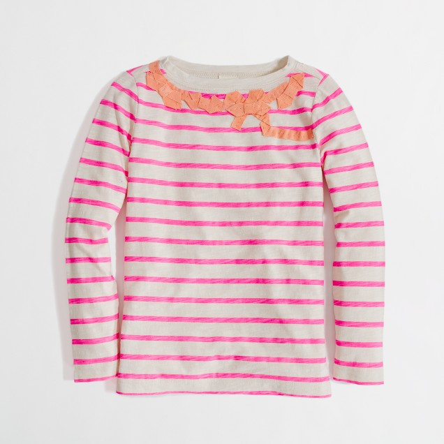 Factory girls' long-sleeve stripe bow tee