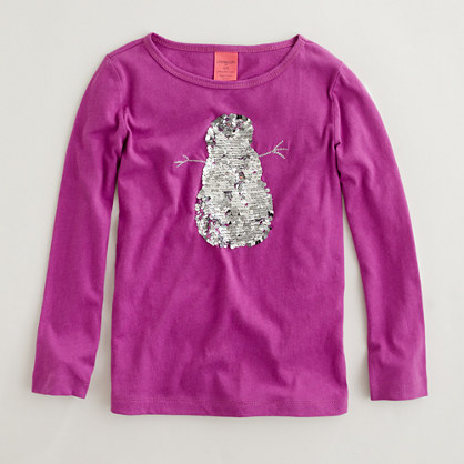 Factory girls' long-sleeve sequin snowman keepsake tee