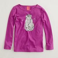 Factory girls' long-sleeve sequin snowman keepsake tee