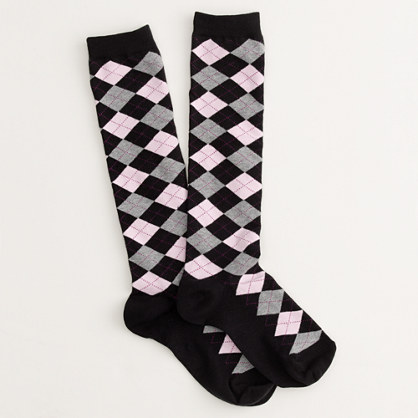 Factory mini-argyle knee-high socks