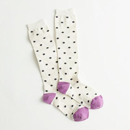 Factory multi-dot knee-high socks