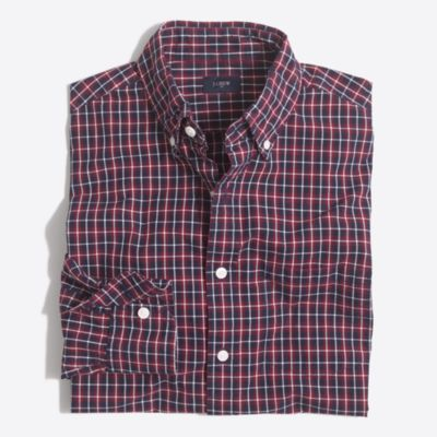 Slim washed shirt in plaid factorymen casual shirts c