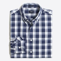 Slim washed shirt in plaid